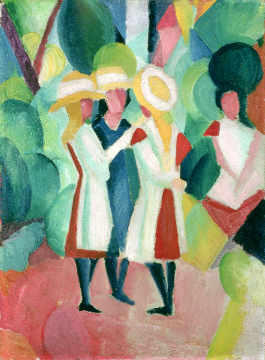 Three girls in yellow straw hats, 1913, von Künstler August Macke als gerahmtes Bild
