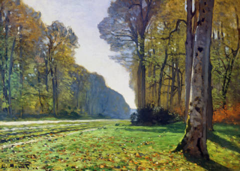 The Road to Bas-Breau, Fontainebleau , c.1865 of artist Claude Monet as framed image