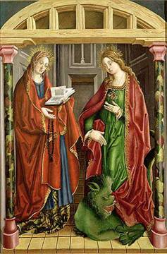 Two female saints, possibly St. Mary Magdalene and St. Martha von Künstler Fernando Gallegos als gerahmtes Bild