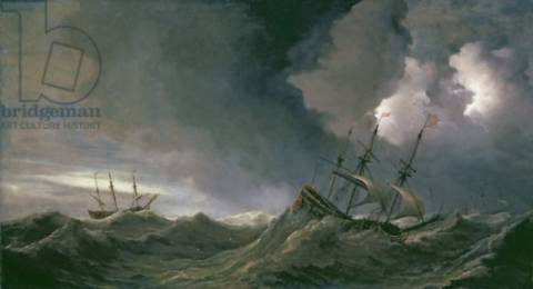 Storm at Sea of artist Willem van de Velde as framed image