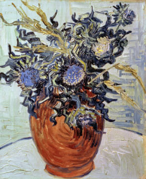 Still Life with Thistles, 1890 of artist Vincent van Gogh as framed image