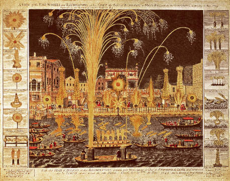 A View of the Fireworks and Illuminations at his grace the Duke of Richmond's at Whitehall and on the River Thames, on Monday 15 von Künstler English School als gerahmtes Bild