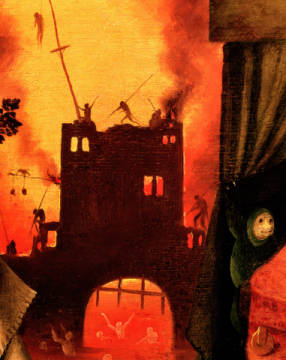 Tondal's Vision, detail of the burning gateway  (detail of 61761) von Künstler Hieronymus Bosch als gerahmtes Bild