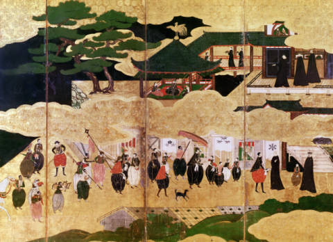 Kunstdruck, individuelle Kunstkarte: Japanese School, The Arrival of the Portuguese in Japan, detail of the right-hand section of a folding screen, Kano School