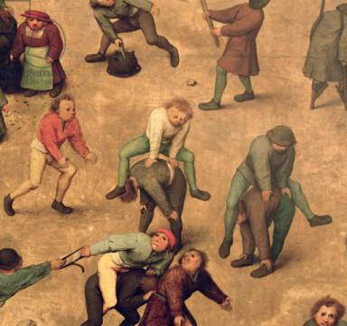 Detail of Children's Games : detail of children playing leap-frog, 1560 von Künstler Pieter Brueghel der Ältere als gerahmtes Bild