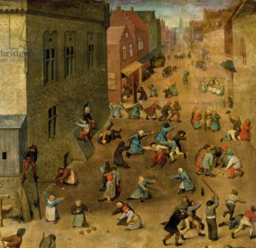 Detail of Children's Games : detail of top right hand corner, 1560 von Künstler Pieter Brueghel der Ältere als gerahmtes Bild