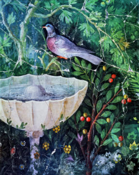 Wall painting of a dove in a garden by a fountain, Pompeii, 1st century AD of artist Unbekannt as framed image