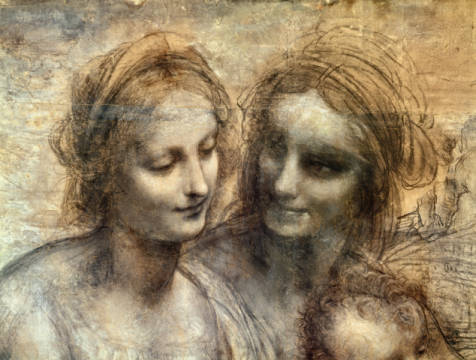 The Virgin and Child with SS. Anne and John the Baptist, detail of heads of the Virgin and St. Anne, c.1499 von Künstler Leonardo da Vinci als gerahmtes Bild