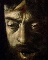 Michelangelo Merisi da Caravaggio - Detail of David with the Head of Goliath, detail of the head, 1606