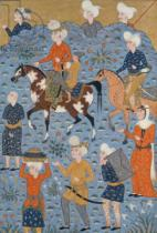 Persian School - Return from the raid, Shiraz, c.1600