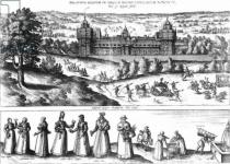 Joris Hoefnagel - Arrival of Queen Elizabeth I at Nonesuch Palace and men and women from Tudor society, 1582