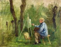 Eugene Decan - Corot at his Easel, Crecy-en-Brie, 1874