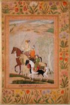 Mughal School - Three Princes Going Hunting, c.1635