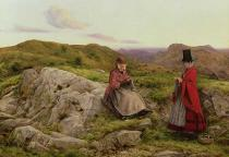 William Dyce - Welsh Landscape with Two Women Knitting, 1860