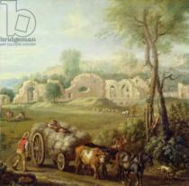 John Wootton - Haycart Passing a Ruined Abbey, c.1740-50