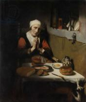 Nicolaes Maes - Old Woman Saying Grace, known as 'The Prayer without End', c.1656
