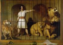 Sir Edwin Henry Landseer - Portrait of Mr Van Amburgh as he Appeared with his Animals at the London Theatre, 1847