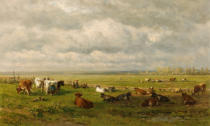 Willem Roelofs - Meadow Landscape with Cattle, c.1880