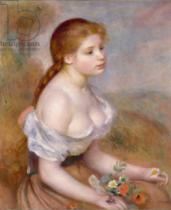 Pierre Auguste Renoir - A Young Girl with Daisies, 1889