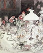 Carl Larsson - Around the Lamp at Evening, 1900