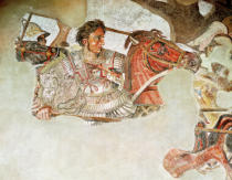 Römisch - Detail of The Alexander Mosaic, detail depicting Alexander the Great (356-323 BC) at the Battle of Issus against Darius III (399