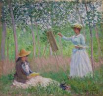Claude Monet - In the Woods at Giverny: Blanche Hoschede at her easel with Suzanne Hoschede reading, 1887