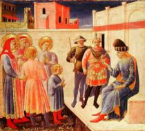 Fra Angelico - SS. Cosmas and Damian Before Diocletian, predella from the Annalena Altarpiece, 1434