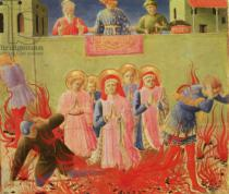 Fra Angelico - SS. Cosmas and Damian Condemned to Burn at the Stake, predella from the Annalena Altarpiece, 1434