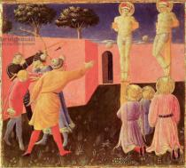 Fra Angelico - The Crucifixion and Stoning of SS. Cosmas and Damian, predella from the Annalena Altarpiece, 1434