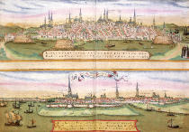 Joris Hoefnagel - Map of Lubeck and Hamburg, from 'Civitates Orbis Terrarum' by Georg Braun (1541-1622) and Frans Hogenberg (1535-90), c.1572