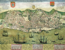 Joris Hoefnagel - Map of Lisbon, from 'Civitates Orbis Terrarum' by Georg Braun (1541-1622) and Frans Hogenberg (1535-90), c.1572