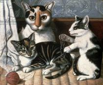 American School - Cat and Kittens, c.1872-1883