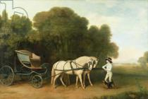George Townley Stubbs - A Phaeton with a Pair of Cream Ponies in the Charge of a Stable-Lad, c.1780-5