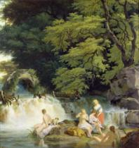 Francis Wheatley - The Salmon Leap at Leixlip with Nymphs Bathing, 1783
