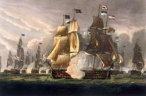 Thomas Whitcombe - The Battle of Cape St. Vincent, February 14th 1797, engraved by J. Baily for J. Jenkins's 'Naval Achievements', 1816