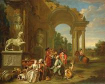 Peter Jacob Horemans - A Hunting party in classical ruins
