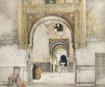 John Frederick Lewis - The Hall of the Two Sisters , from 'Sketches and Drawings of the Alhambra', engraved by Willam Gauci (fl.1825-54), 1835