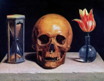 Philippe de Champaigne - Vanitas Still Life with a Tulip, Skull and Hour-Glass