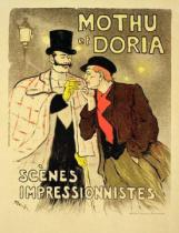Theophile-Alexandre Steinlen - Reproduction of a poster advertising 'Mothu and Doria'in impressionist scenes, 1893