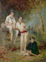 George Elgar Hicks - Three Young Cricketers, c.1883