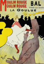 Henri de Toulouse-Lautrec - Reproduction of a poster advertising 'La Goulue' at the Moulin Rouge, Paris
