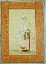 Mughal School - A young nobleman of the Mughal court, from the Large Clive Album