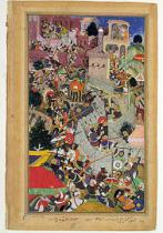 Mughal School - Emperor Akbar (r.1556-1605) shoots Saimal at the Siege of Chitov in 1567, from the 'Akbarnama' made by Abu'l Fazi, 1590-98