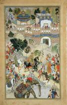 Mughal School - Emperor Akbar's triumphant entry into Surat, from the 'Akbarnama' made by Abul Fazi (1515-1602) 1590-98