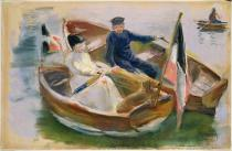 Max Liebermann - Two Boats with Flags, Wannsee, 1910