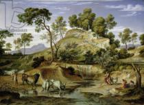 Joseph Anton Koch - Landscape with Shepherds and Cows and at the Spring, 1832-34