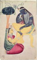 Indian School - The God Krishna with his mortal love, Radha