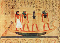 Egyptian School - Papyrus depicting a man being transported on a barque to the afterlife by Thoth, Khepri and another god