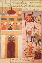 Persian School - Tamerlane (1336-1405) Besieging Urganj, from the Zafarnama of Shaval ad-Din, copied by Murshid al Attar of Shiraz, 1523
