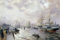 Carl Rodeck - Sailing Ships in the Port of Hamburg, 1889